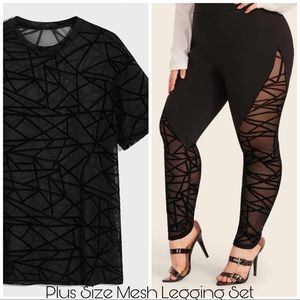 Pants - Geometric Mesh Legging & Black Top Set 3X 4X
